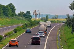 Highway transportation with cars and Truck. D2 Highway from Bratislava in Slovakia royalty free stock photography