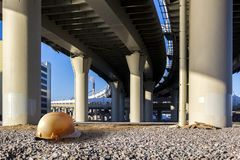 Highway interchange concrete road curve of viaduct, St. Petersburg, Russia stock photos
