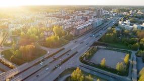 Highway transportation system highway interchange at sunset. Summer time green road way. stock photo