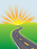 Highway travel bright sky morning future Royalty Free Stock Photography