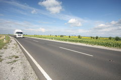 Highway with truck. Highway with beautiful blue sky and truck Stock Photos