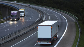 Highway truck traffic. Some plain highway truck traffic royalty free stock photo