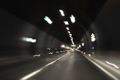 Highway tunnel. Abstract in motion blur Royalty Free Stock Photo