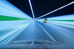 Highway tunnel with motion blured Royalty Free Stock Image
