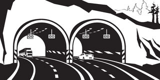 Highway tunnel in the mountains Stock Photos