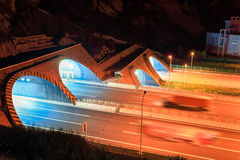 Highway tunnel at night Royalty Free Stock Images