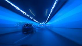 Highway tunnel at night, timelapse stock footage