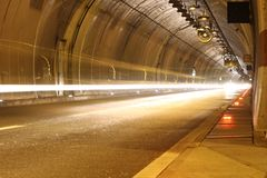Highway tunnel ny night Stock Photos
