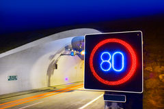 Highway tunnel with speed limit Royalty Free Stock Photos