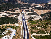 Highway and tunnels. An aerial view of a highway and tunnels stock images