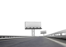 Highway with two billboards afar isolated on white Stock Photos