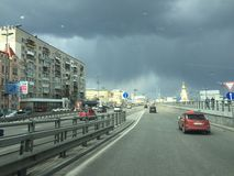 Highway. Ukraine Kiev street traffic in rainy weather Royalty Free Stock Photos