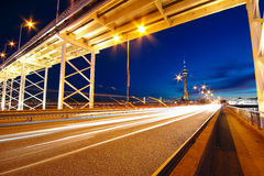 Highway under the bridge in macao. At night Royalty Free Stock Images
