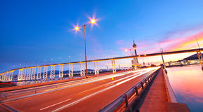 Highway under the bridge in macao. At sunset Royalty Free Stock Image