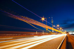 Highway under the bridge in macao. Night Royalty Free Stock Image