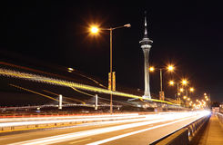 Highway under the bridge in macao. At night Stock Photography