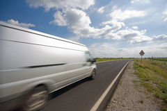 Highway with a van Stock Photo