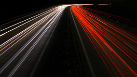 Highway Vanhising point at night Stock Photo