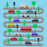 Highway with vehicles. Flat design. Vector illustration Royalty Free Stock Photos