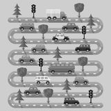 Highway with vehicles. Flat design. Vector illustration Royalty Free Stock Photo