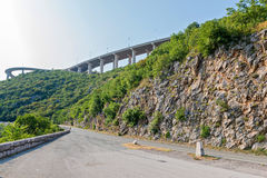 Highway viaduct close-up Stock Images