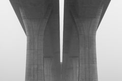 Highway viaduct in the  mist Royalty Free Stock Photography