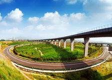 Highway and viaduct Royalty Free Stock Photos