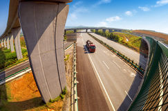 Highway and viaduct. Under the blue sky Stock Photography