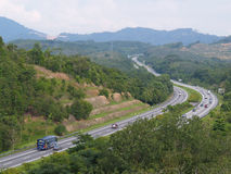 Highway view from above. Serpentine hill road Royalty Free Stock Photo
