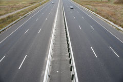 Highway. View from above, fields around Royalty Free Stock Image