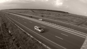 Highway. View from above, fields around stock video footage