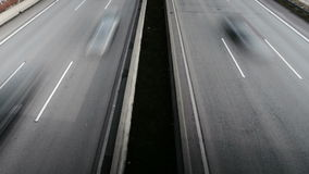 Highway, view from above. Time-lapse stock footage