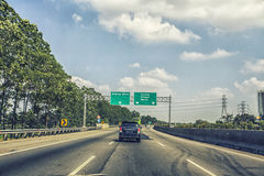 Highway View with signboard Stock Images