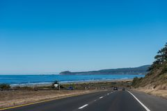 Views of the highway from the northwest coast of California, USA stock image