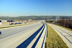 Highway from Vilnius to Kaunas city is most used Stock Images