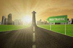 Highway with web traffic text Royalty Free Stock Image