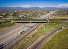 Highway 36, Westminster, Colorado. Aerial over traffic on Highway 36 in rural Westminster, Colorado on sunny day Stock Photo