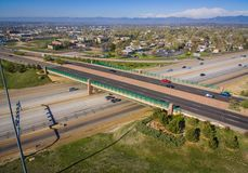 Highway 36, Westminster, Colorado. Aerial over traffic on Highway 36 in rural Westminster, Colorado on sunny day Stock Image