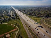 Highway 36, Westminster, Colorado. Aerial over traffic on Highway 36 in rural Westminster, Colorado on sunny day Stock Photography