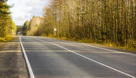 Highway in wild autumn forest Royalty Free Stock Images