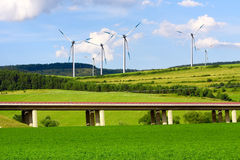 Highway and wind turbines Stock Image