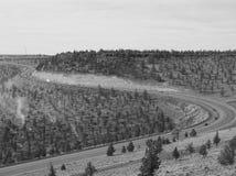 Highway winding downhill Stock Photo