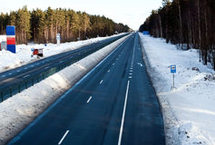 Highway in winter in Eastern Europe Stock Photo
