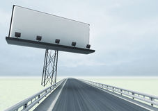 Highway in winter with empty billboard and sky Stock Photo