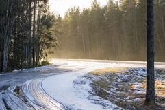 Highway on winter morning. Sunrise on a highway at winter Royalty Free Stock Photos