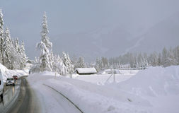 Highway in Winter through Royalty Free Stock Image