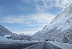 Highway in winter time Royalty Free Stock Photo