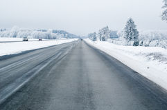 Highway in the winter Royalty Free Stock Photo