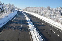 Highway. Winter view to a highway Stock Photo