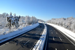 Highway. Winter view to a highway Royalty Free Stock Images